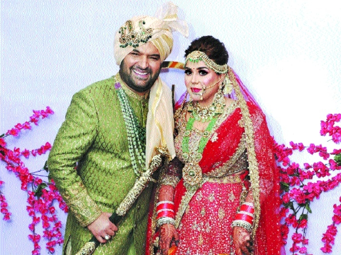 Newly wed comedian actor Kapil Sharma and Ginni Chatrath during their wedding ceremony in Jalandhar Punjab