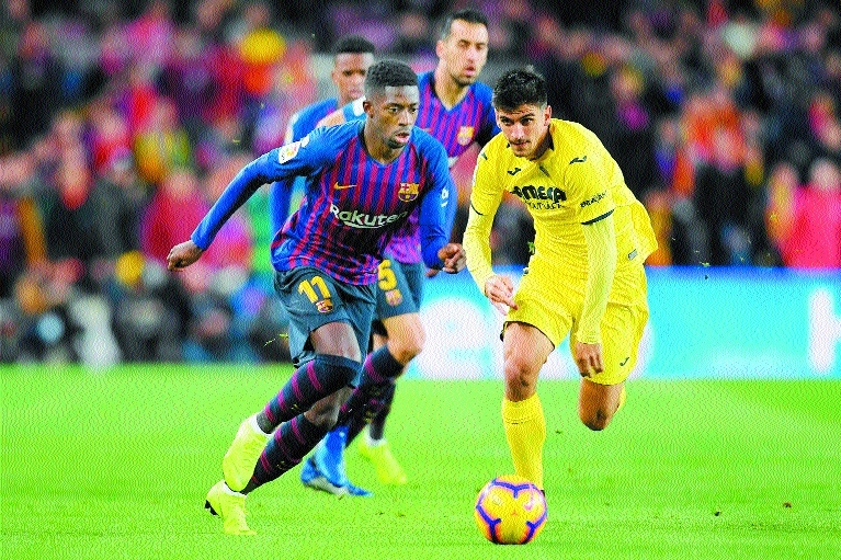Dembele takes Barca to top of the table