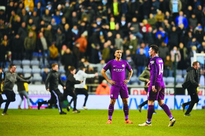 Man City sunk by Wigan in Cup shock