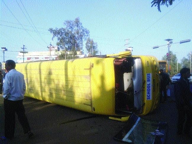 School bus overturns, two children injured