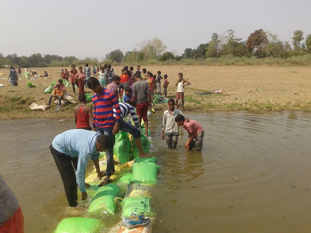 Students build temporary bridge over Half river