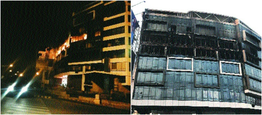 Major fire at Law College Square, material worth lakhs gutted