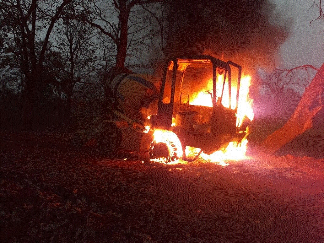 Ultras set afire Ajax machine at road construction site in Bijapur