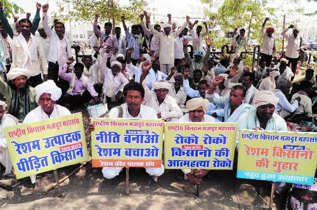 Silk farmers demand MGNREGA labour