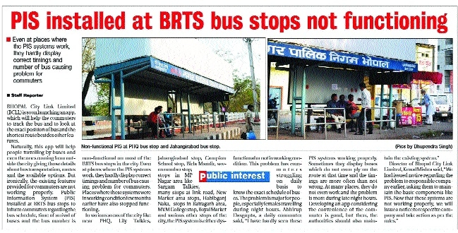 Notice issued to firm for dysfunctional Public Information System on BRTS bus stops
