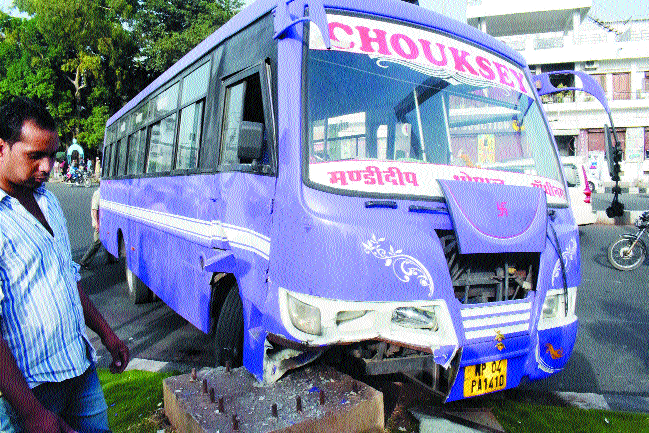 Miraculous escape for passengers as bus rams into divider
