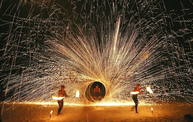 Filipino fire dancers perform for the last time beach resort island of Boracay in central Aklan province Philippines
