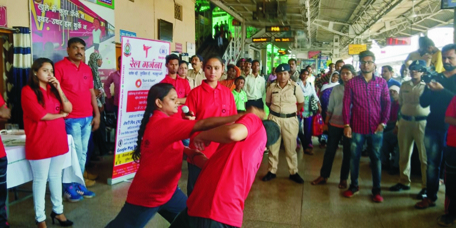 Women get self defense tips during railway journey