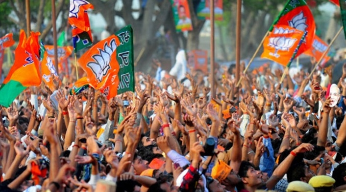 BJP workers celebrate K'taka election sweep
