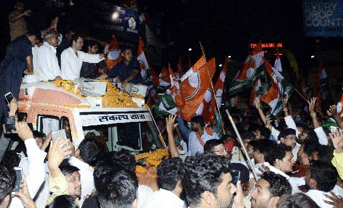 Cong President Rahul Gandhi's mega road show accorded warm welcome