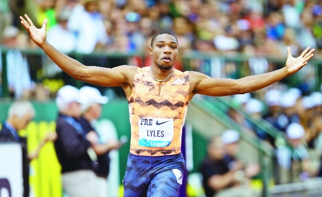 Lyles matches year's 200m best