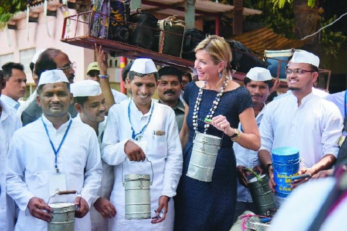Dutch Queen meets Mumbai's dabbawalas
