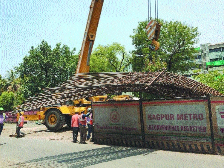 Metro Rail work: Reinforcement bends