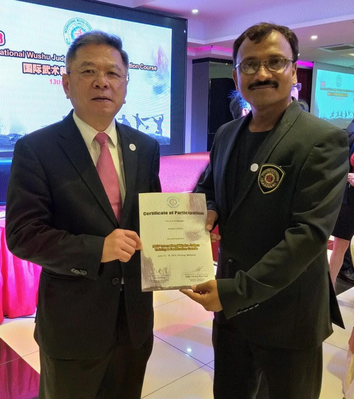 Manoj Gupta receives International Wushu Judge Certificate