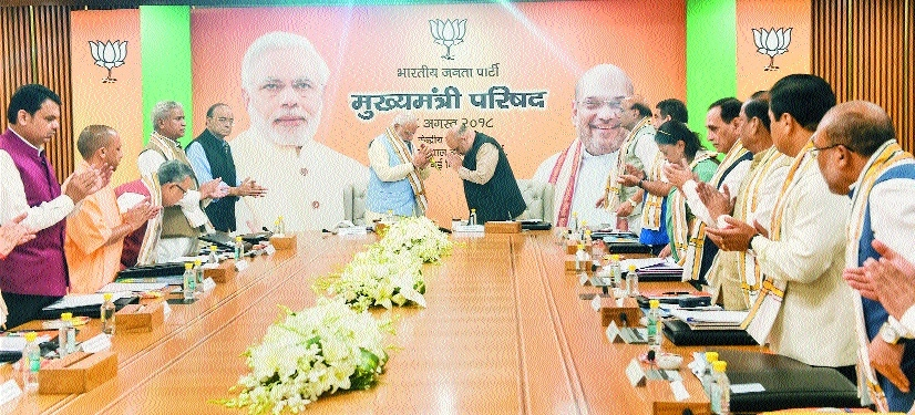 PM reviews schemes with BJP CMs