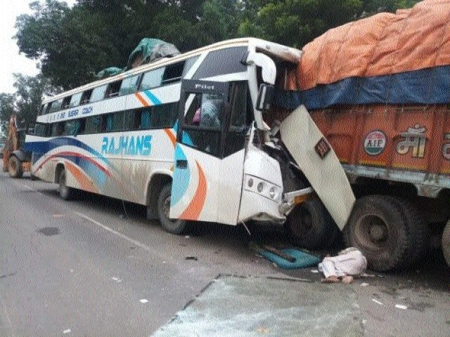 Five killed, 7 injured as bus rams into stationary truck