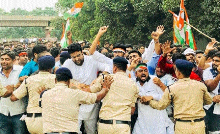 YC activists stage protest for not providing employment to youths in BSP