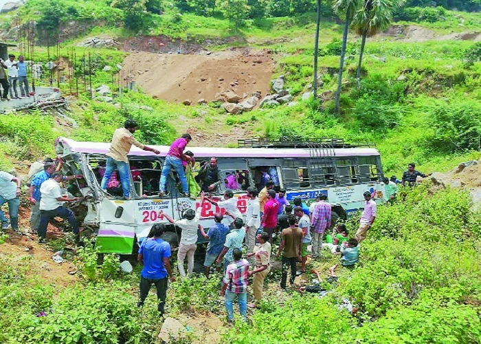 57 killed as bus falls into gorge in Telangana