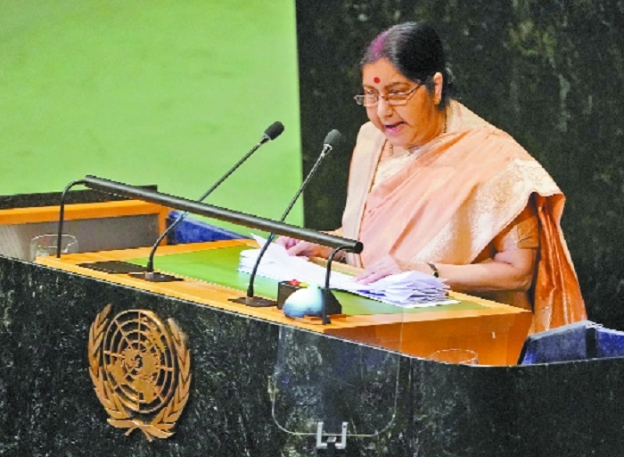 Pakistan glorifies killers: Sushma to world leaders