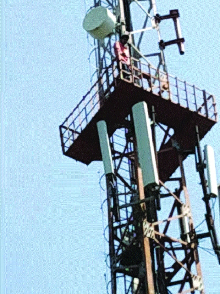 After farmer, another man climbs mobile tower to highlight plight