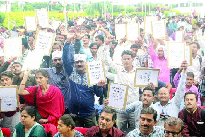 Contractual employees demonstrate for reinstatement