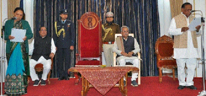 Governor administers oath as Protem Speaker to Rampukar Singh