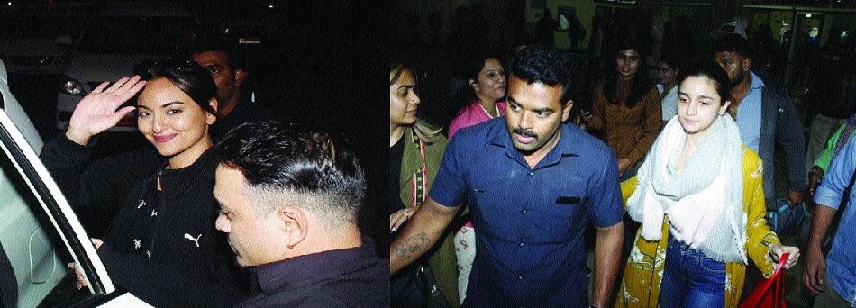 Sonakshi, Alia land at airport, head for Chanderi