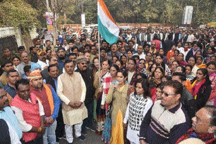 BJP leaders sing Vande Mataram at Collectorate