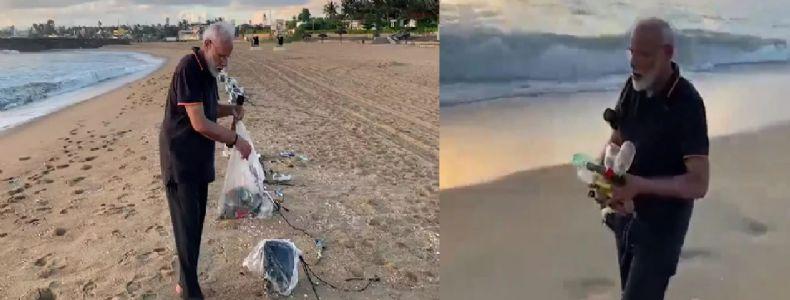 Modi goes 'plogging' on Mamallapuram beach