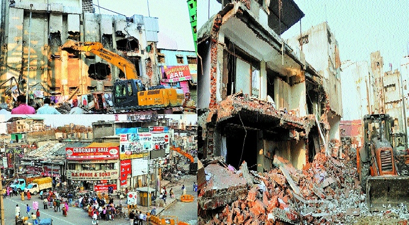 NIT begins demolition of shops at Sitabuldi to pave way for construction of Glocal Mall