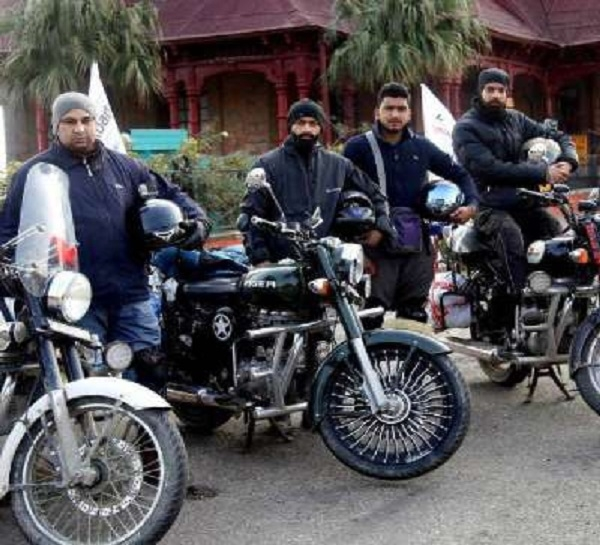 Kashmiri youths on bike r