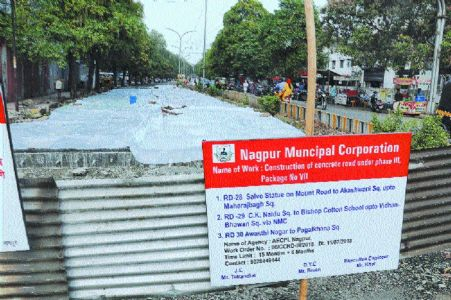 NMC completes cement road in record time, but only in front of their office
