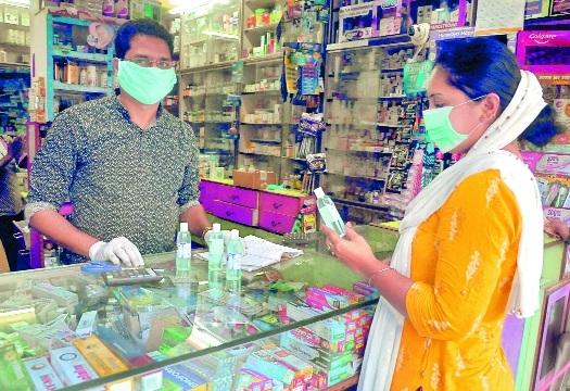 A housewife buying saniti