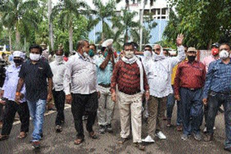JMC employees, union leaders protest for demands at hqs