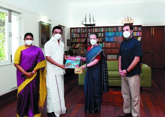 M K Stalin meets Sonia Ra