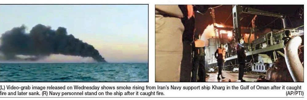 Iran warship catches fire